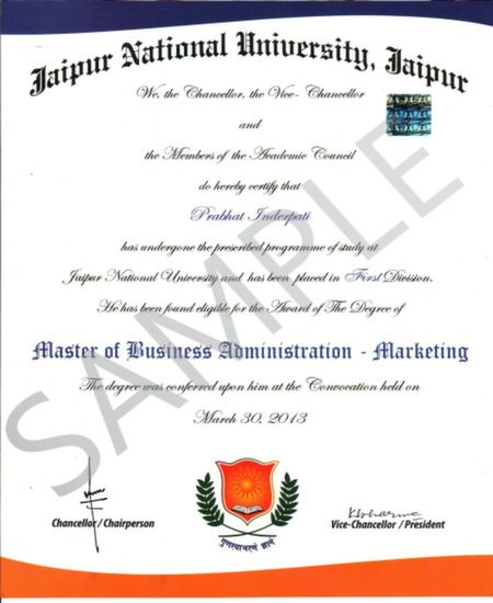 mba degree certificate sample